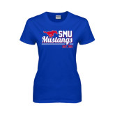 Ladies Royal T Shirt-Stacked SMU Mustangs Design