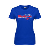Ladies Royal T Shirt-Football Outline Design