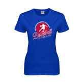 Ladies Royal T Shirt-Player on Basketball Design