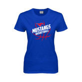 Ladies Royal T Shirt-Angled Mustangs in Basketball
