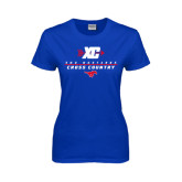 Ladies Royal T Shirt-Stacked Cross Country Design