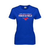 Ladies Royal T Shirt-Track and Field Stacked Design