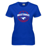 Ladies Royal T Shirt-Mustangs Basketball Arched w/ Ball