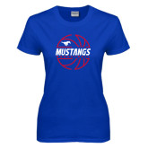 Ladies Royal T Shirt-Mustangs Basketball Lined Ball