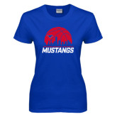 Ladies Royal T Shirt-Mustangs Basketball Dallas Skyline