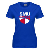 Ladies Royal T Shirt-SMU Basketball Stacked on Ball