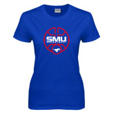 Ladies Royal T Shirt-SMU Basketball Block Stacked in Circle