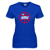 Ladies Royal T Shirt-SMU Basketball Block in Circle