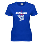 Ladies Royal T Shirt-Mustangs Basketball Stacked w/ Net