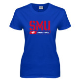 Ladies Royal T Shirt-SMU Basketball Stencil