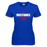 Ladies Royal T Shirt-Mustangs Basketball Net Icon