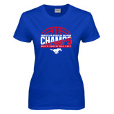 Ladies Royal T Shirt-2017 AAC Regular Season Champs - Mens Basketball Half Ball