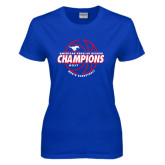 Ladies Royal T Shirt-AAC Regular Season Champions 2017 Mens Basketball Lined Ball