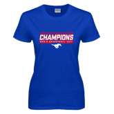 Ladies Royal T Shirt-2017 AAC Regular Season Champions - Mens Basketball Stencil