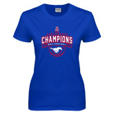Ladies Royal T Shirt-2017 AAC Conference Champions - Mens Basketball Arched Banner