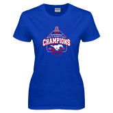Ladies Royal T Shirt-2017 AAC Conference Champions - Mens Basketball Arched Net