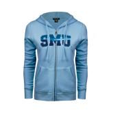 ENZA Ladies Light Blue Fleece Full Zip Hoodie-Block SMU