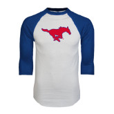 White/Royal Raglan Baseball T Shirt-Official Outlined Logo