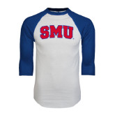 White/Royal Raglan Baseball T Shirt-Block SMU