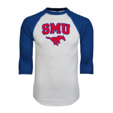 White/Royal Raglan Baseball T Shirt-SMU w/Mustang