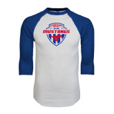 White/Royal Raglan Baseball T Shirt-Mustangs in Shield