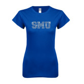Next Level Ladies SoftStyle Junior Fitted Royal Tee-Rhinestone SMU