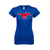 Next Level Ladies SoftStyle Junior Fitted Royal Tee-Official Outlined Logo