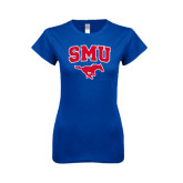 Next Level Ladies SoftStyle Junior Fitted Royal Tee-SMU w/Mustang