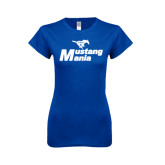 Next Level Ladies SoftStyle Junior Fitted Royal Tee-Mustang Mania
