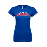 Next Level Ladies SoftStyle Junior Fitted Royal Tee-Arched SMU Mustangs