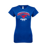 Next Level Ladies SoftStyle Junior Fitted Royal Tee-Arched Mustangs w/ Banner