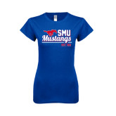 Next Level Ladies SoftStyle Junior Fitted Royal Tee-Stacked SMU Mustangs Design