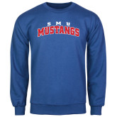 Royal Fleece Crew-Arched SMU Mustangs
