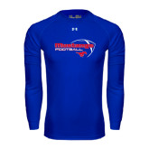 Under Armour Royal Long Sleeve Tech Tee-Football Outline Design