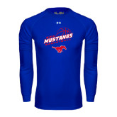 Under Armour Royal Long Sleeve Tech Tee-Angled Basketball Design