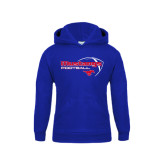 Youth Royal Fleece Hoodie-Football Outline Design