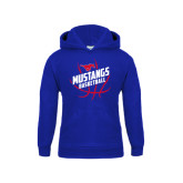 Youth Royal Fleece Hoodie-Angled Mustangs in Basketball