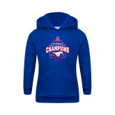 Youth Royal Fleece Hoodie-2017 AAC Conference Champions - Mens Basketball Arched Net
