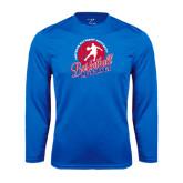 Syntrel Performance Royal Longsleeve Shirt-Player on Basketball Design