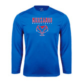 Performance Royal Longsleeve Shirt-Stacked Basketball Design