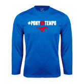 Performance Royal Longsleeve Shirt-#PonyUpTempo Above Mustang