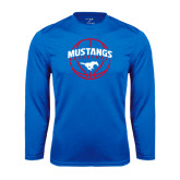 Performance Royal Longsleeve Shirt-Mustangs Basketball Arched w/ Ball