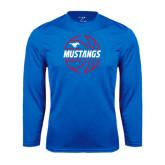 Syntrel Performance Royal Longsleeve Shirt-Mustangs Basketball Lined Ball