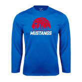 Syntrel Performance Royal Longsleeve Shirt-Mustangs Basketball Dallas Skyline