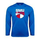 Syntrel Performance Royal Longsleeve Shirt-SMU Basketball Stacked on Ball