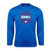 Syntrel Performance Royal Longsleeve Shirt-SMU Basketball Block Stacked in Circle