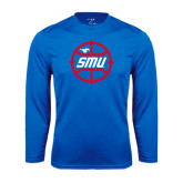 Syntrel Performance Royal Longsleeve Shirt-SMU Basketball Block in Circle