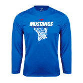 Performance Royal Longsleeve Shirt-Mustangs Basketball Stacked w/ Net