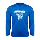 Syntrel Performance Royal Longsleeve Shirt-Mustangs Basketball Stacked w/ Net