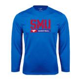 Performance Royal Longsleeve Shirt-SMU Basketball Stencil